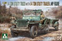 U.S. Army 1/4 ton utility truck with 1/4 ton utility trailer &  MP figure - Image 1