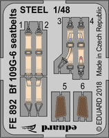 Bf 109G-6 seatbelts STEEL  TAMIYA - Image 1