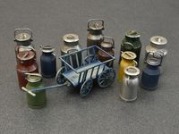 Milk Cans with Small Cart - Image 1