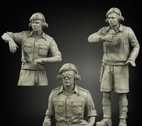 British RAC North Africa early tank crew (3 figures)